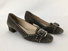 PRADA Milano 36.5 Taupe Suede Buckle Studs Block Heel Slip On Square Toe 6.5