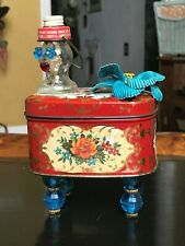 Vintage Red Flowered Assembledge Trinket Box