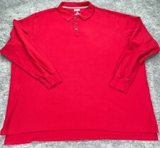 New listing Duluth Trading Co. Polo Shirt Men 4XL Red Pique Long Sleeve Cotton Solid Rugby