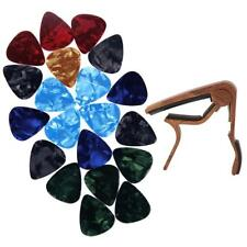 MagiDeal 20pcs Guitar Picks 0.46mm + Acoustic Folk Guitars Capo Rose Wood