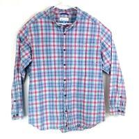 Columbia Mens sz XXL Blue Red Plaid Button Down Casual Shirt Long Sleeve
