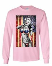 Marilyn Monroe US Flag Long Sleeve T-Shirt Freedom Sexy Girl Tattoos Gangsta Tee