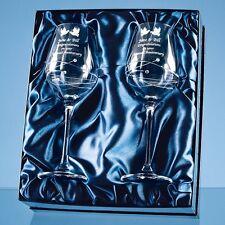 Personalised Engraved Pair 2 Diamante Crystal Wine Glasses Birthday Anniversary