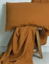 M Home French Linen Fitted|Flat Sheet|Pillowcase- Cinnamon