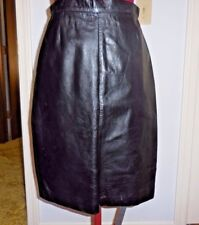 Black Leather Skirt,  lined, sz 8 ,Back zipper and snap, knee length