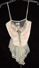 Pink Covered with White Floral Lace with Wire Bra Nylon Teddy Size L Made in USA