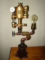 INDUSTRIAL STEAMPUNK LAMP WITH BRASS OILER & MANY OTHER BRASS PARTS & GAUGES :