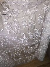"""10 MTR WHITE TULLE EMBROIDED CRYSTAL BRIDAL LACE NET FABRIC..58"""" WIDE £89.99"""