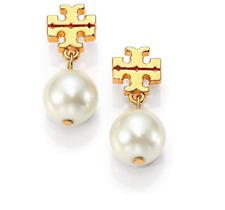 Tory Burch Logo Faux Pearl Gold Tone Drop Earrings