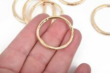 5 Light Gold Hammered Rings, Circle Washer Connector Links 32mm chg0608