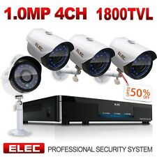 ELEC 4CH HDMI 1080P DVR 1800TVL Outdoor CCTV Wired Home Security Camera System