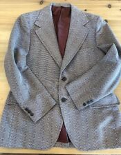 M L Vintage 60s 70s JC PENNEY TOWNCRAFT Tweed Blazer Red Tan 44 Reg Lion Buttons