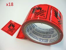 18 Rolls Flam Gas 2 Labels 100mmX50m Fluoro Red Perforated Sticker Roll