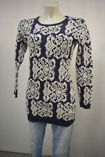 Beauty Women Damen Long Strick Pullover  Gr.S/M  Navyblau-Grau mit Lammwolle TOP
