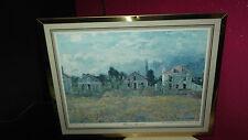 Schöner Kunstdruck Claude Monet Häuser in Argentueil golden gerahmt 35 x 43 cm
