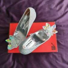 BNIB Frestepvie Silver Bridal Wedding Stiletto Diamante Court Shoes UK Size 5