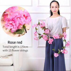 Wedding Artificial Spring Cherry Blossom Silk Plastic Vine for Decoration 170cm