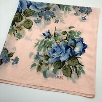 """30"""" ECHO Light Pink Blue Cottage Rose Silk Scarf Hand Rolled Edges Pretty"""