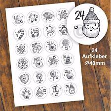 24 Aufkleber 1-24 Advent Adventskalender Zahlen Weihnachten Fest Sticker #8 DIY