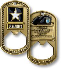 U.S. Army Commemorative Brass - Warrior Ethos - Dog Tag / Bottle Opener