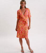 LILLY PULITZER Adalie Pink Orange Yellow Printed Wrap Dress Size Small