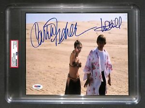 """Mark Hamill + Carrie Fisher """"Luke & Leia"""" Star Wars Signed Autographed photo PSA"""