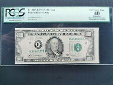 1981 $100 Error Misaligned Face Printing FRN PCGS XF 40PPQ Fr. 2169-B