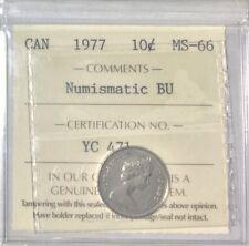 1977 Canada 10 cents  ICCS Graded MS-66 Numismatic BU # 35290