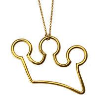 Anhänger mit Kette Krone Massiv Sterling Silber 925 Gelbgold Vergoldet Damen