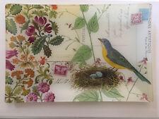 Glass rectangular decorative tray/plate Postcard design w/ bird, nest & flowers