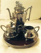 Vintage Silver Plated Coffee Set w/ Tray- 4 pc.- EG Webster&Son- 19 C