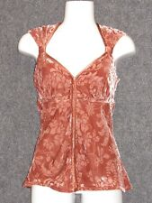 ANTHROPOLOGIE Brown Floral Embossed Tunic Top Blouse SZ 6 NEW