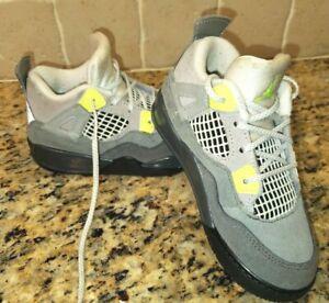 "Toddler Jordan Retro 4 ""Neon Volt"" Wolf Grey CT5345 007 Baby Boys Shoes Size 9C"