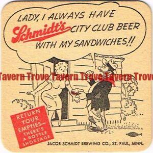 "MN-SCH-11 1940s MINNESOTA St Paul SCHMIDT'S BEER ""Sandwiches"" 4 inch Coaster"