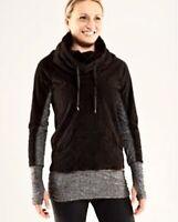Rare Lululemon Sz 6 Dont Hurry Be Happy Pullover Black Gray Cowl Neck Longsleeve