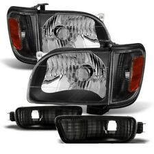 Toyota 01-04 Tacoma Black Replacement Corner Signal Bumper Headlights Set