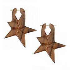 1 paio INTAGLIATE organico STAR legno GIOIELLO ORECCHINI PENDENTI STELLA MARRONE