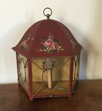 Antique Italian or French Tole Wall Lantern Sconce Red with Hand Painted Flowers