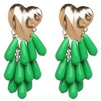 HUGE Green Drop Resin Bead Golden Heart Earrings!