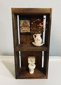 Vintage Wooden Shadow Box Hangable Miniature Bathroom