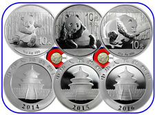 2014, 2015, 2016 10 Yuan Silver Chinese Panda 3 Coin China Typeset