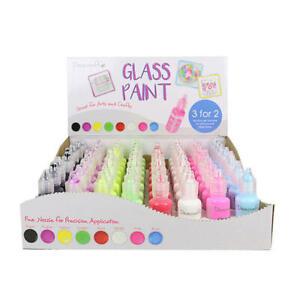 Dovecraft Glass Paint Bottle Fine Nozzle Assorted Colours - Pack of 8 x 20ml