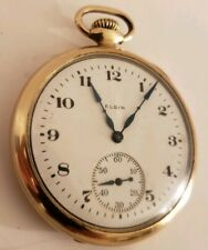 Antique Working 1923 ELGIN Victorian Gold G.F. Art Deco 17J Pocket Watch 12s