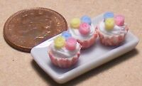 1:12 Ceramic Plate Of 3 Mixed Rose Cup Cakes Dolls House Miniature Accessory PL6