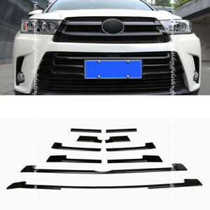 For Toyota Highlander 2018-19 Glossy Black Front Bumper Grille Grill Cover Trim