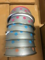 Bulk Case of 24 STAINLESS STEEL DOG CAT PET BOWL PAW PRINT MULTICOLOR Med. NEW!