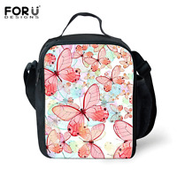 Pink Butterfly Thermal Picnic Cooler Insulated Lunch Box Bag Tote Womens Girls