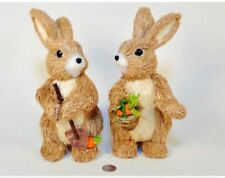 "Easter Decor 10"" Sisal Easter Bunny Rabbit with Basket"