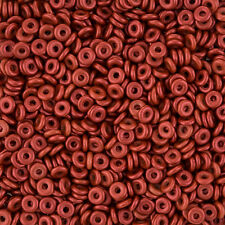 Perla Checa o ® 3.8x1mm Rojo Lava Vidrio Prensado Donut/Anillo Perlas 8.1g (L73/3)