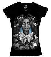 DGA David Gonzales Mother Earth Native American Art Junior Woman V Neck T Shirt